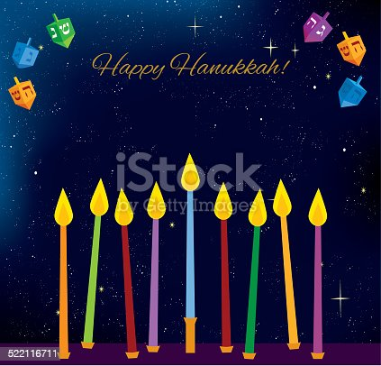 istock Hanukkah candles and dreidels 522116711