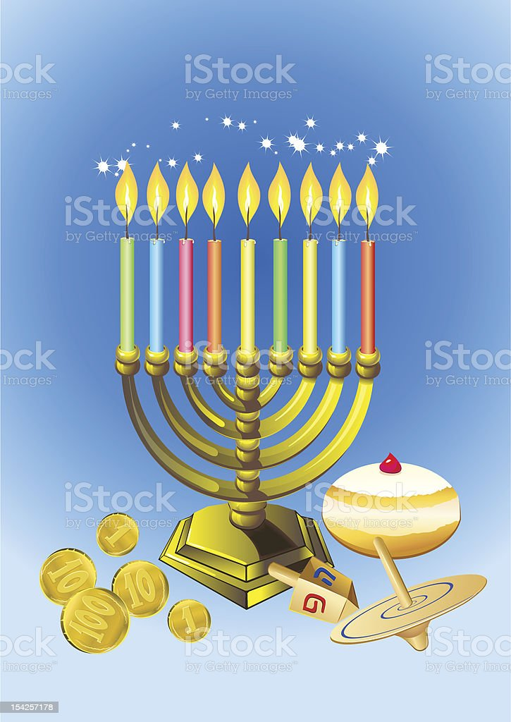 hanukkah candles, donuts, oil pitcher and spinning top royalty-free stock vector art