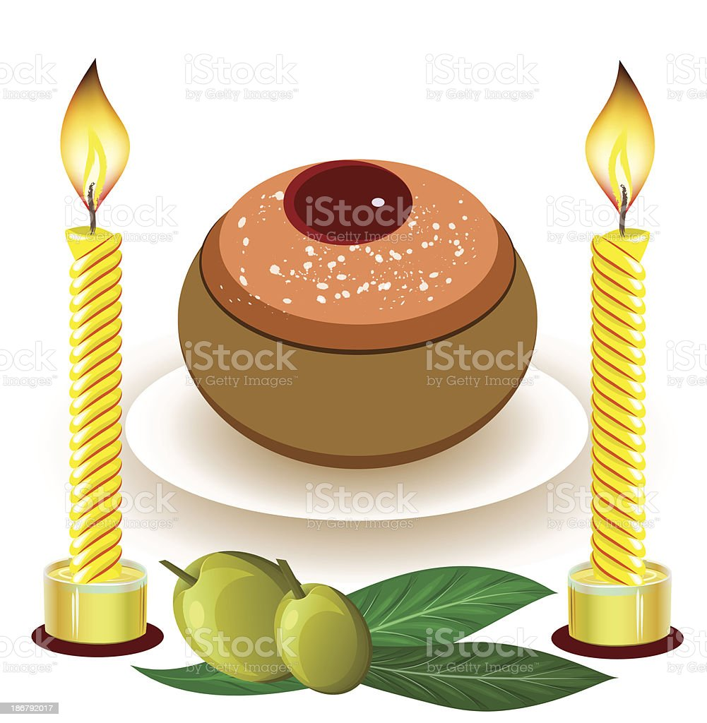 hanukkah candles with traditional donuts royalty-free stock vector art