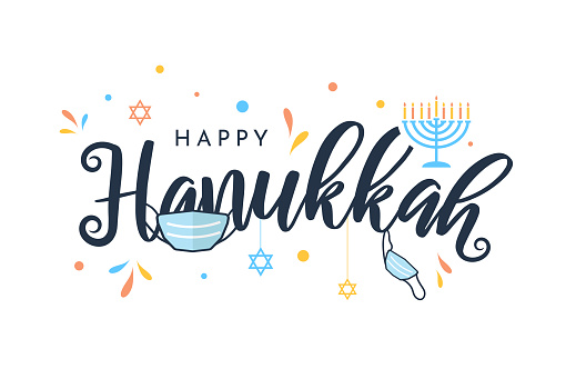 Hanukkah colorful card with face mask. Vector