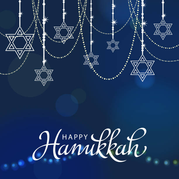 Hanukkah Decorations Celebrate Hanukkah Background. star of david stock illustrations
