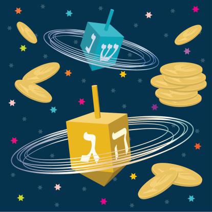 Hanukkah Dreidels and Gelt