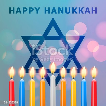 Celebrate the Jewish holiday Hanukkah known as the Festival of Light with Menorah candles and Star of David symbol on the translucent lights background