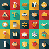 A set of flat design styled Hanukkah icons with a long side shadow. Color swatches are global so it's easy to edit and change the colors. File is built in the CMYK color space for optimal printing.