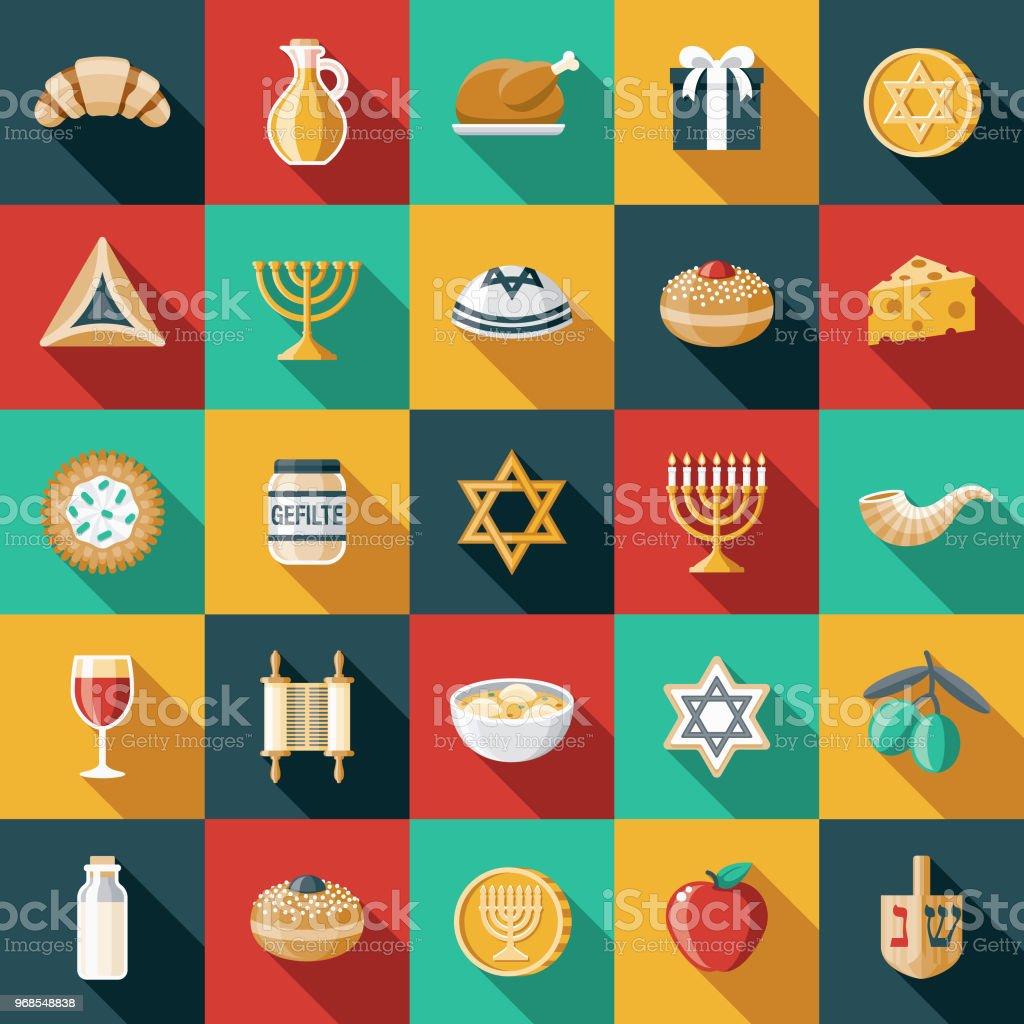 Hanukkah Design plat Icon Set - Illustration vectorielle