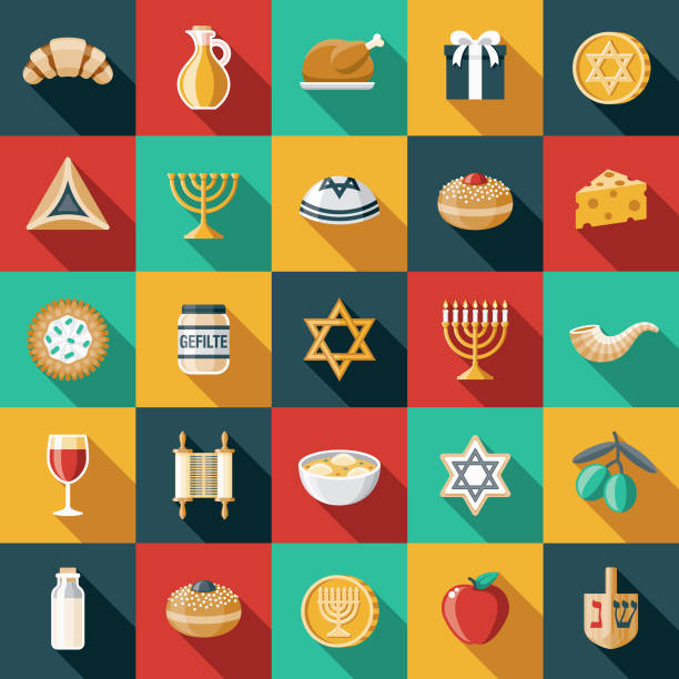 Hanukkah Flat Design Icon Set A set of flat design styled Hanukkah icons with a long side shadow. Color swatches are global so it's easy to edit and change the colors. File is built in the CMYK color space for optimal printing. judaism stock illustrations