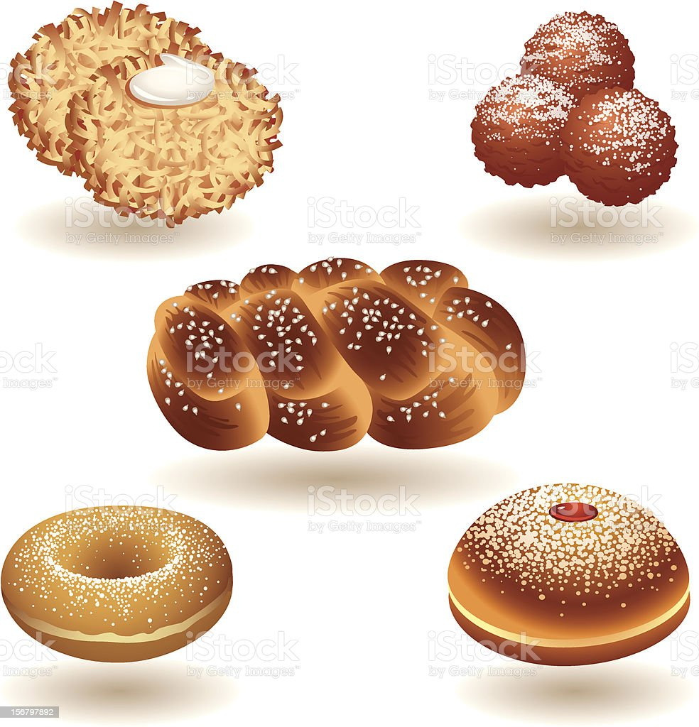 Hanukkah Food royalty-free stock vector art