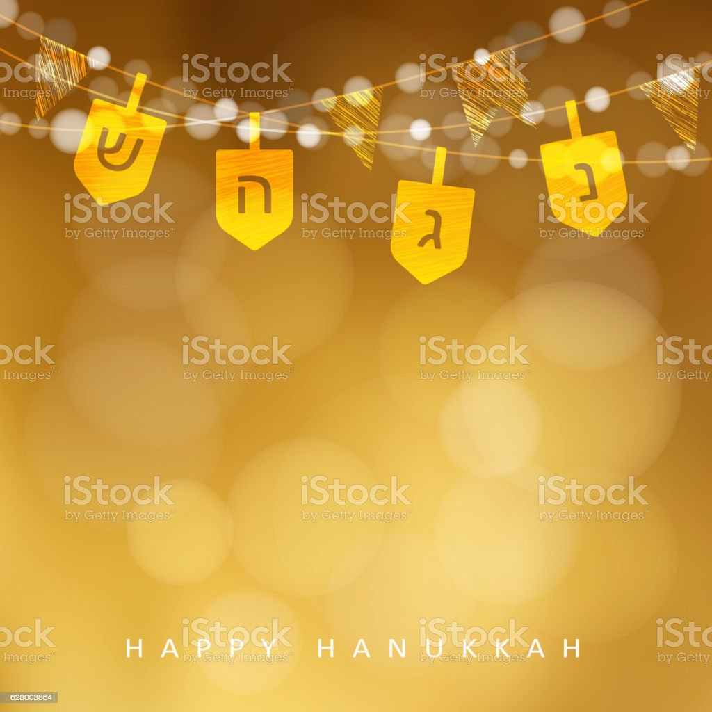Hanukkah golden background with string of lights, dreidels, flags. - ilustración de arte vectorial
