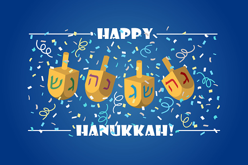 Hanukkah greeting card. Happy Hanukkah lettering with dreidels and confetti on blue background.