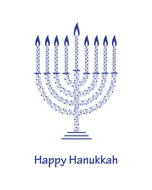 Hanukkah Greeting Card Template Blue Patterned Menorah And Candles ...