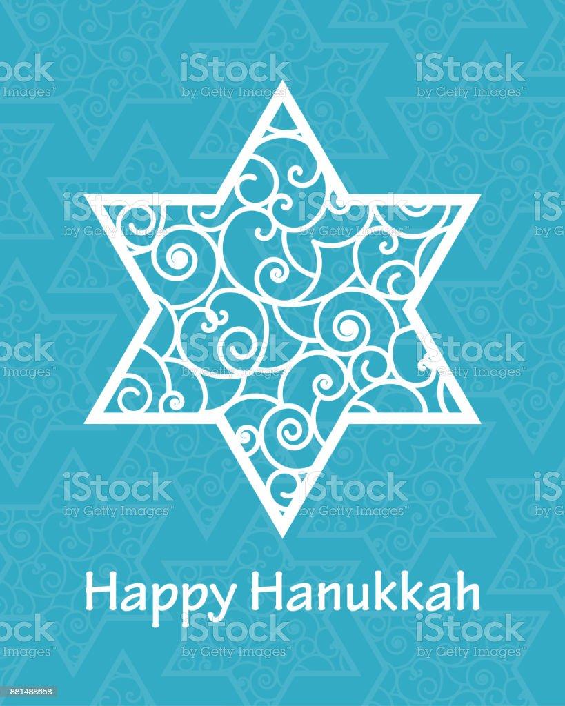 Hanukkah greeting card template hand drawn david star with swirl hanukkah greeting card template hand drawn david star with swirl pattern and lettering happy hanukkah m4hsunfo