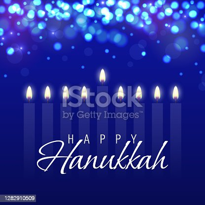 istock Hanukkah greeting card with candles. Happy Hanukkah, Jewish holiday background. Vector Hanukkah background with menorah 1282910509