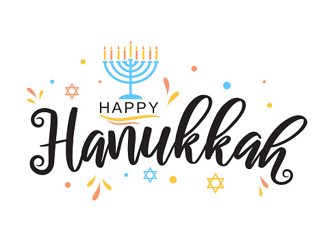 Hanukkah greeting card with menorah. Vector