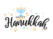 Hanukkah greeting card with menorah. Vector illustration. EPS10