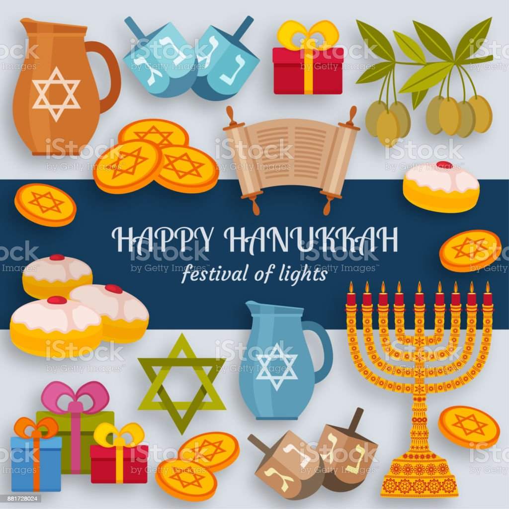 Hanukkah Greeting Card With Torah Menorah And Dreidels Place For Your Text Stock Illustration Download Image Now Istock