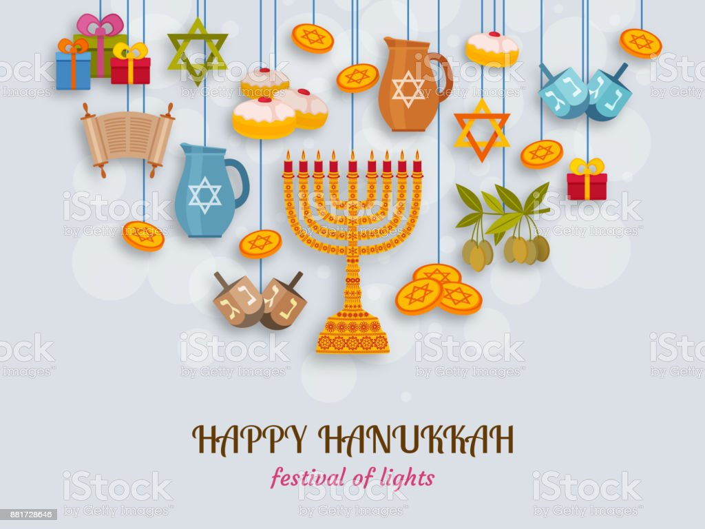 Hanukkah greeting card with Torah, menorah and dreidels. Place for your Text vector art illustration