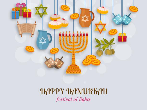 ilustraciones, imágenes clip art, dibujos animados e iconos de stock de tarjeta de felicitación de hanukkah con torah, la menorá y dreidels. lugar para el texto - jánuca