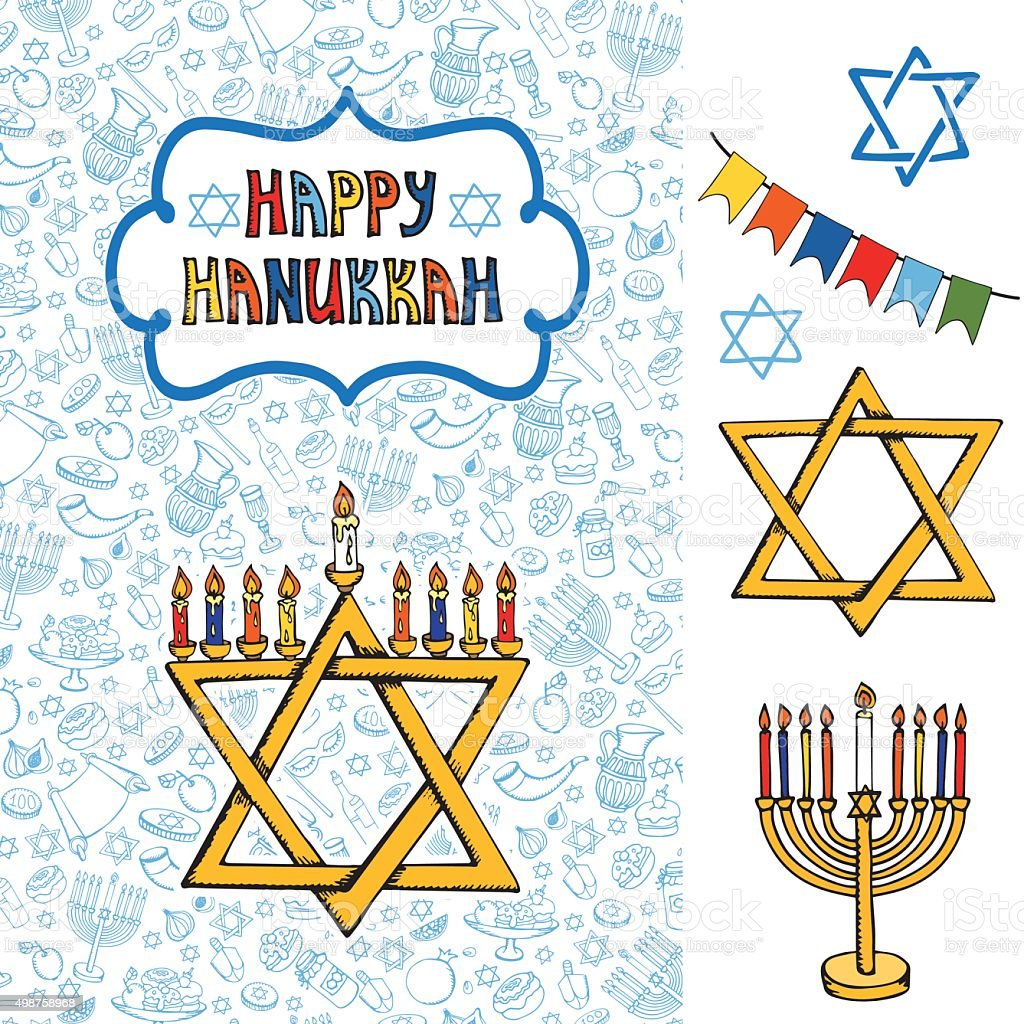 Hanukkah Greeting Carddoodle Jewish Holiday Symbols Stock Vector Art