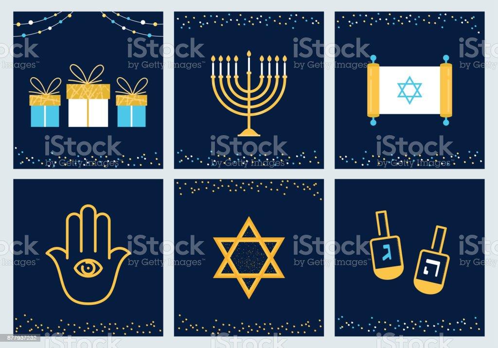 Cartes de voeux Hanoukka avec symboles Juifs. Vector Design - Illustration vectorielle