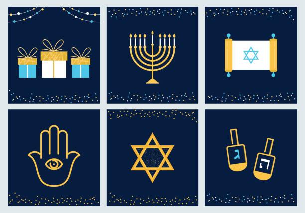 ilustraciones, imágenes clip art, dibujos animados e iconos de stock de hanukkah tarjetas con símbolos judíos. diseño vectorial - jánuca