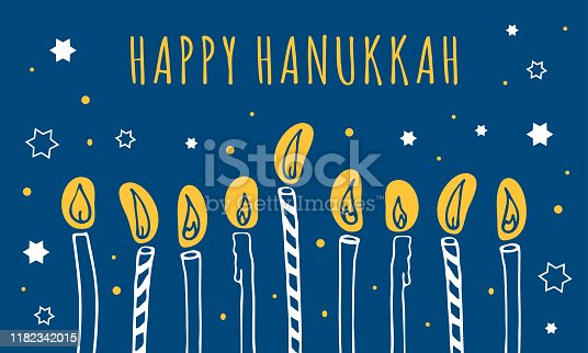 Hanukkah greeting template. Nine candles and wishing. Hand drawn sketch illustration. White, yellow and blue colors