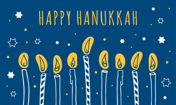 Hanukkah greeting template. Nine candles and wishing. Hand drawn sketch illustration Hanukkah greeting template. Nine candles and wishing. Hand drawn sketch illustration. White, yellow and blue colors happiness stock illustrations