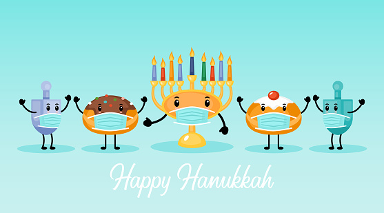 Hanukkah holiday banner design with menorah, traditional doughnuts and dreidel funny cartoon characters with face medical mask