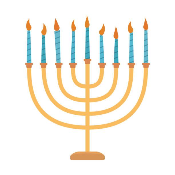 ilustraciones, imágenes clip art, dibujos animados e iconos de stock de día de fiesta de hanukkah menora plana diseño de icono - hanukkah