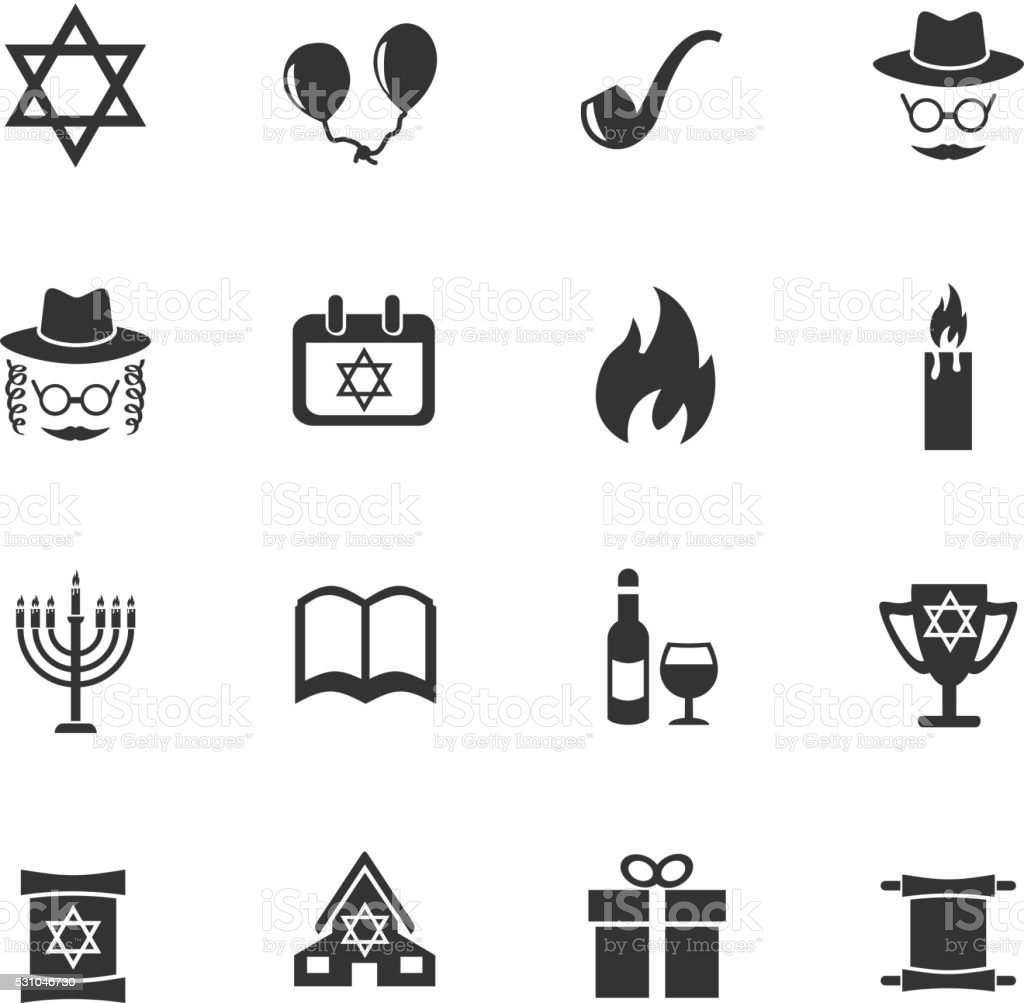 hanukkah icon set vector art illustration