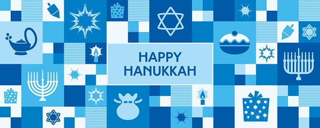Hanukkah icons banner/greeting card