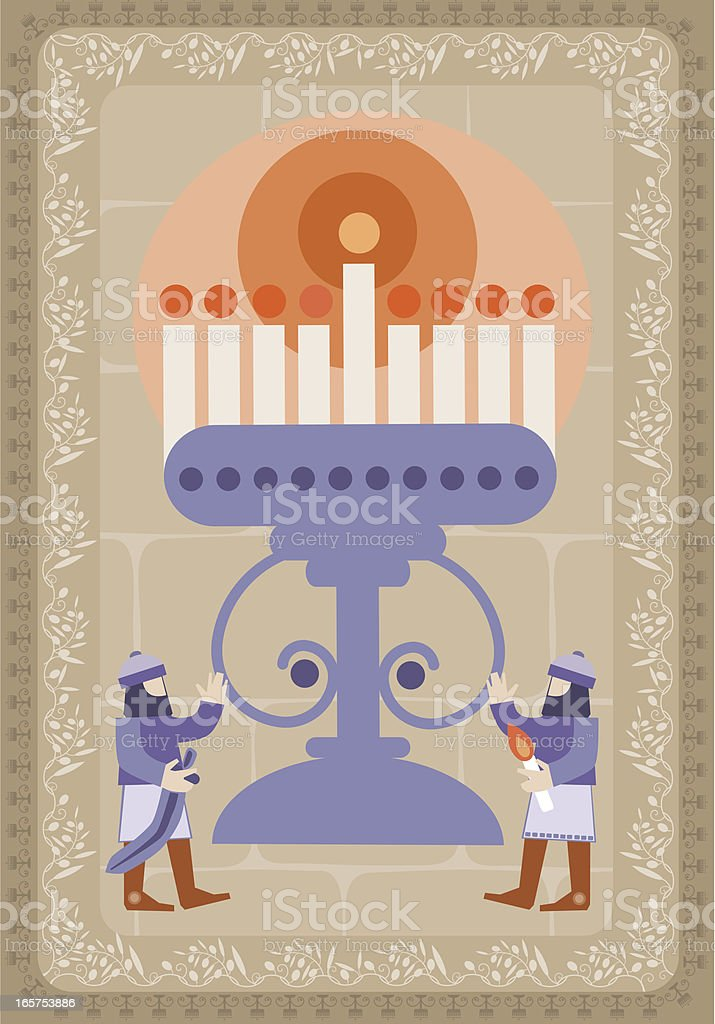 Hanukkah Illustration With Candlestick And Maccabees royalty-free stock vector art