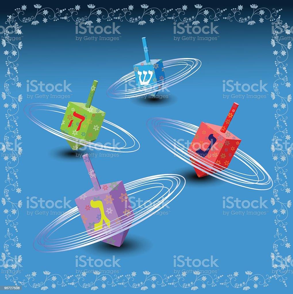Hanukkah Illustration With Colorful Spinning Dreidels royalty-free stock vector art