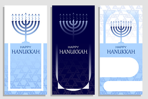 Hanukkah invitations with Menorah candle. Happy jewish holiday of Hanukkah. Set of templates for greeting cards, banners, brochures. Vector