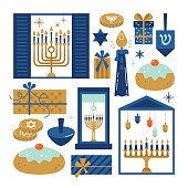 Hanukkah jewish holiday elements for graphic and web design