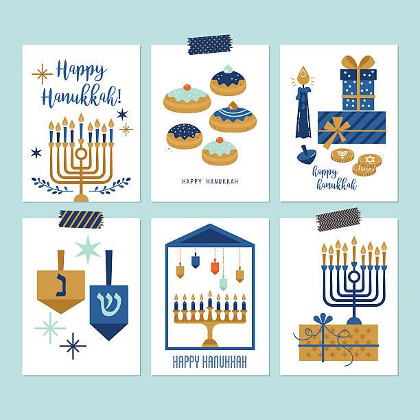 ilustraciones, imágenes clip art, dibujos animados e iconos de stock de hanukkah jewish holiday greeting card set design - jánuca