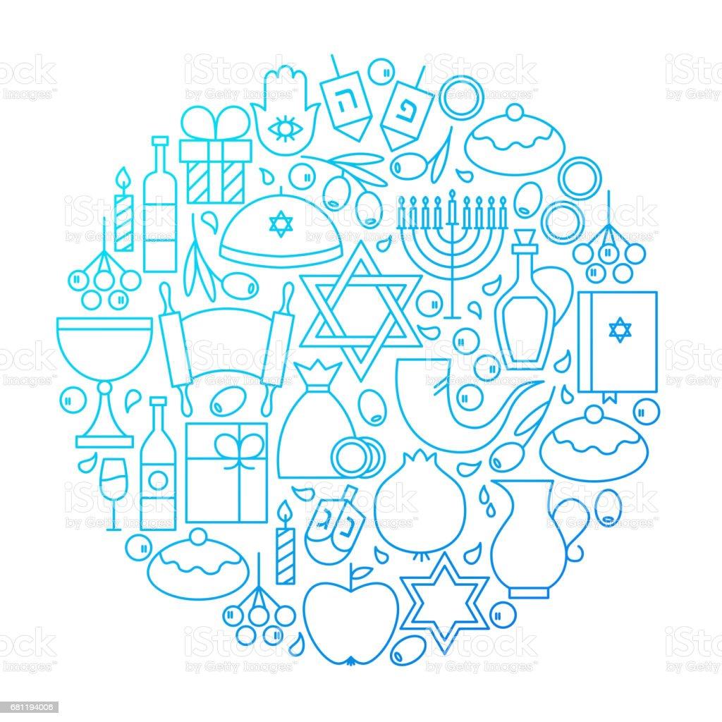 Hanukkah Line Icon Circle Design vector art illustration