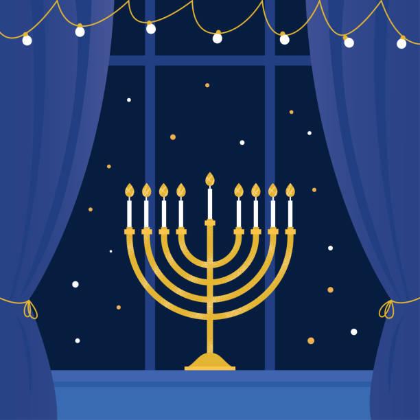 ilustraciones, imágenes clip art, dibujos animados e iconos de stock de menorah de hanukkah y ventana de la habitación. ilustración de vector - hanukkah