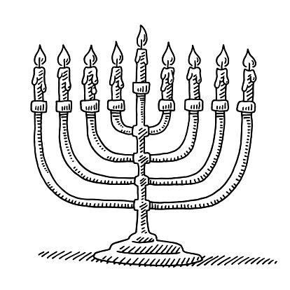Hanukkah Menorah Candles Drawing