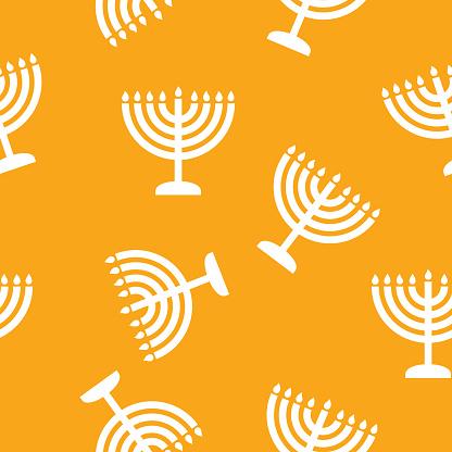 Hanukkah Menorah Lights Pattern Silhouette