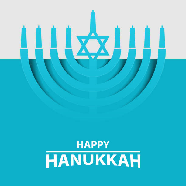 ilustrações, clipart, desenhos animados e ícones de hanukkah menorah sobre fundo azul claro. tipografia de texto feliz hanukkah. - hanukkah