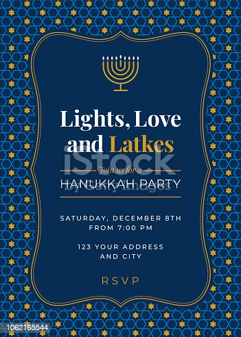 istock Hanukkah Party invitation - Illustration 1062165544