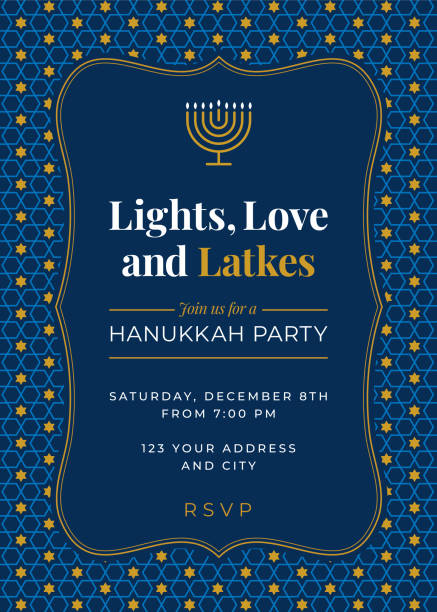 Hanukkah Party invitation - Illustration Hanukkah Party invitation - Illustration judaism stock illustrations