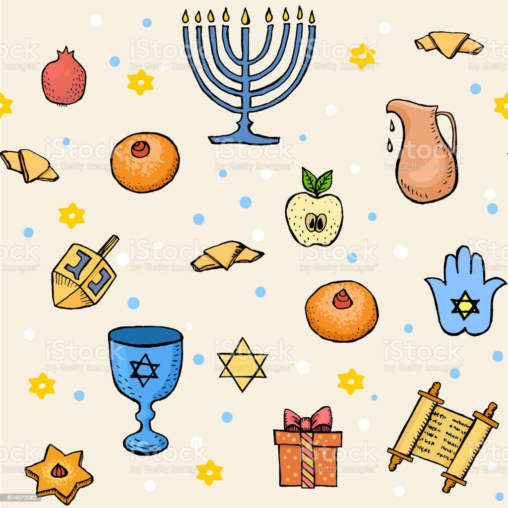 Hanukkah Seamless Pattern With Hand Drawn Jewish Symbols Torah