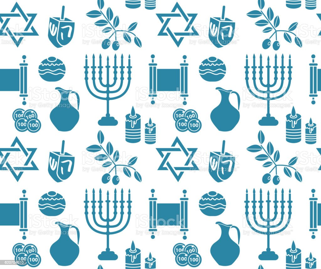Hanukkah Symbol Seamless Pattern Background Royalty Free