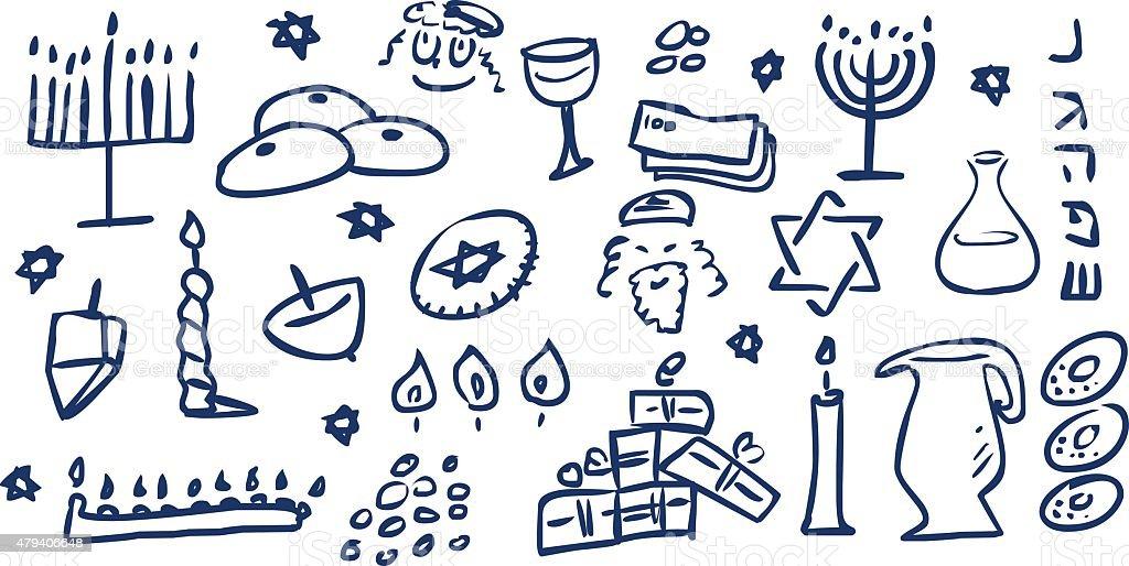 Hanukkah Symbols Doodles vector art illustration