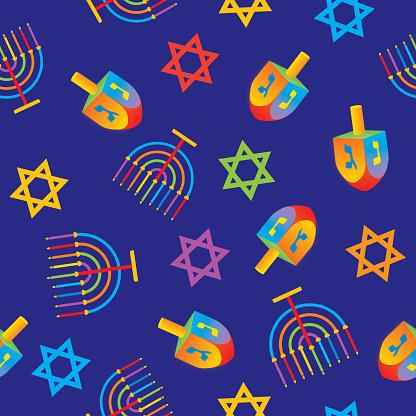 Hanukkah Symbols Seamless Pattern