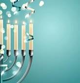 Hanukkah, the Jewish Festival of Lights, festive background with menorah and silver lights. Vector illustration