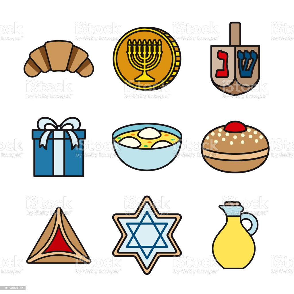 Hanukkah Thin Line Icon Set vector art illustration