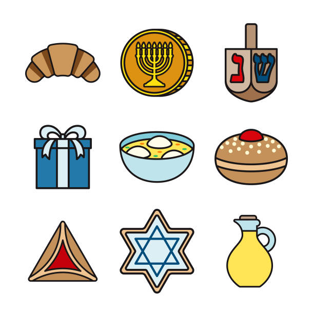 Hanukkah Thin Line Icon Set vector art illustration