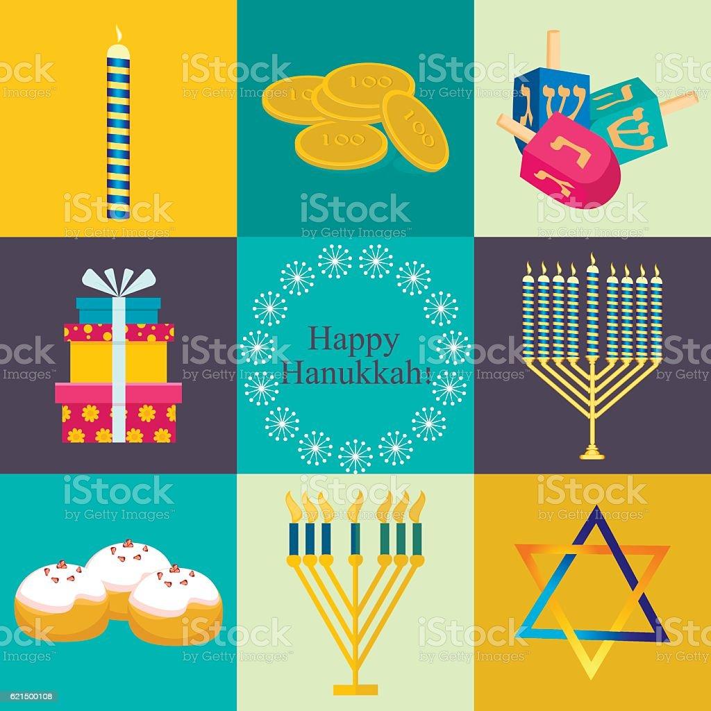 Hanukkah traditional symbols jewish icons set isolated vector. hanukkah traditional symbols jewish icons set isolated vector – cliparts vectoriels et plus d'images de aliment libre de droits